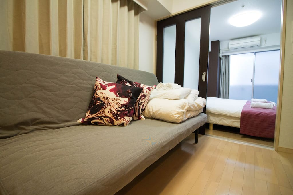 Double Sofa Bed. Clean linen and futon will provide.