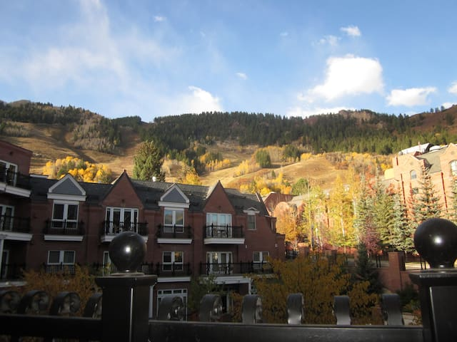 Aerial View of the property looking toward Ajax Mountain in Autumn.