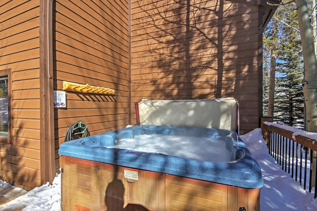 Melt your cares away in the home's enticing private 8-person hot tub.