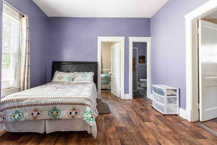 Soothing colors and comfortable bed!