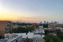 Manhattan view from the shared rooftop