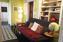 The apartment living room is spacious and comfortable. Sofa can be easily converted into a comfortable double size bed.