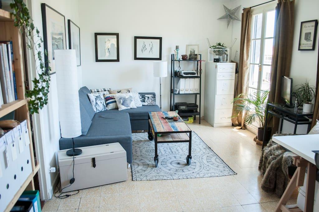 Salon avec grand canapé d'angle convertible.