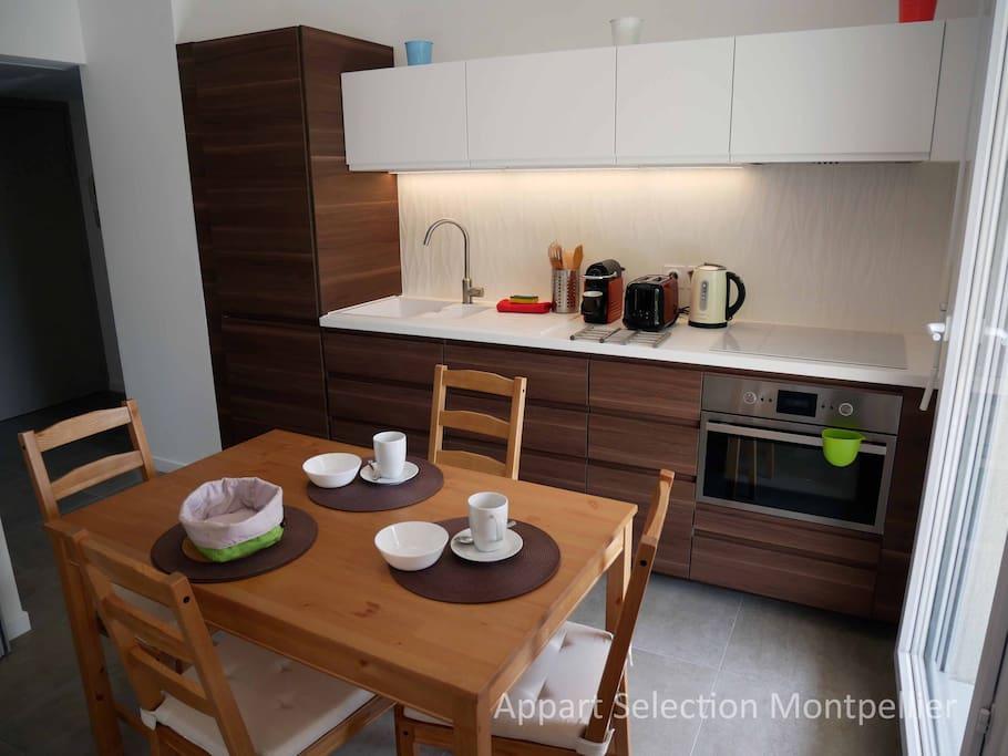 La cuisine de l'appartement Jardin d'Aiguelongue by Appart Selection Montpellier