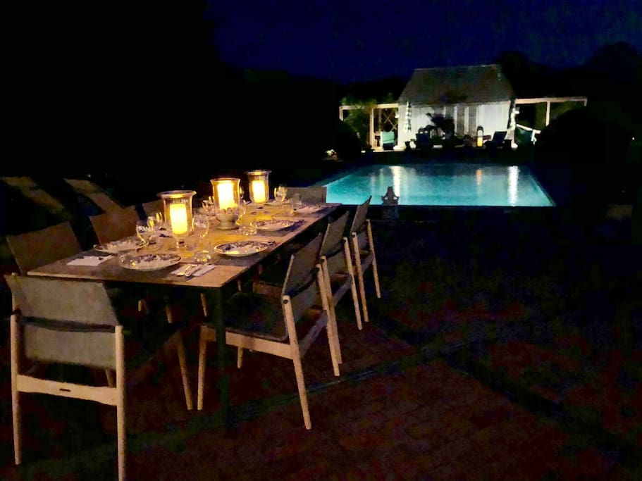 Evening Dinner by the pool