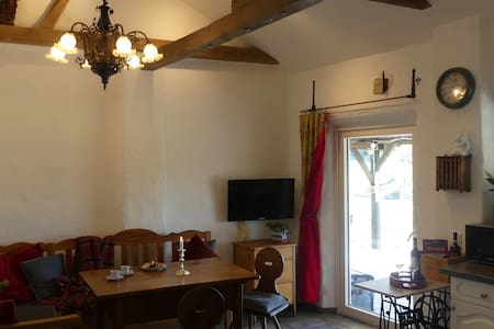 """Apartment """"An Burg Eltz"""" with large covered terrace, garden, own driveway & entrance, WLan, pets on request."""