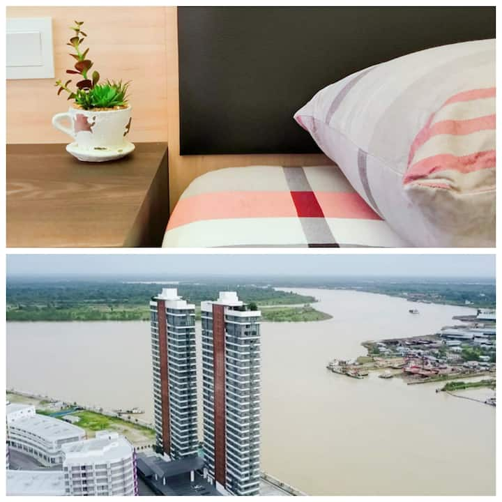 Riverfront Residence Sibu@river & sunset view