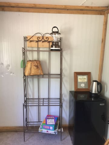 Shelving/mini fridge/hot water kettle