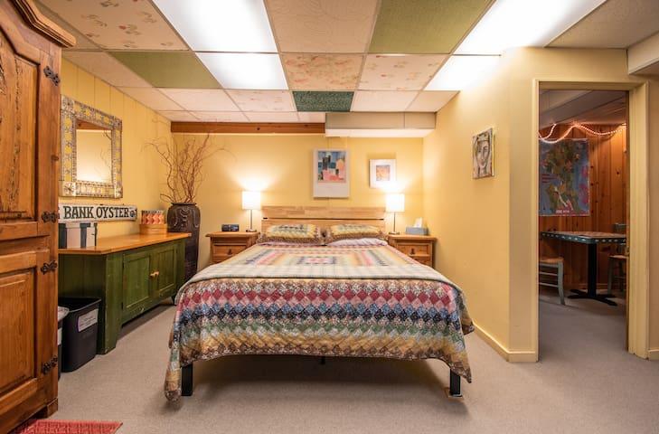 Queen bed with very comfortable gel memory foam mattress.