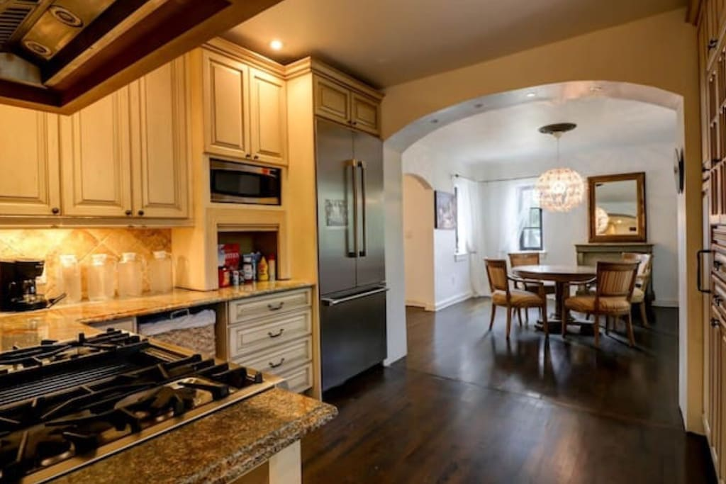 Shared gourmet kitchen and casual dining area