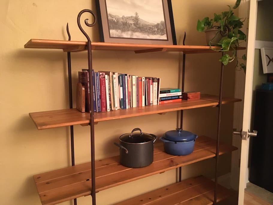 Handcrafted bookshelf and original charcoal drawing of the Sierra Nevada foothills.