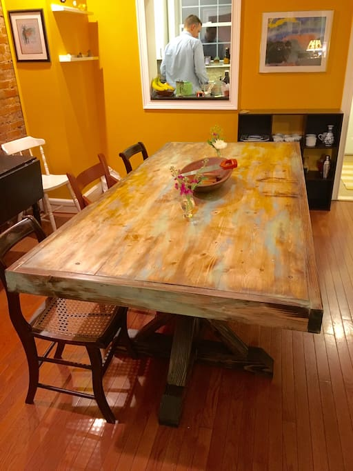 Handmade farm-style dining room table.
