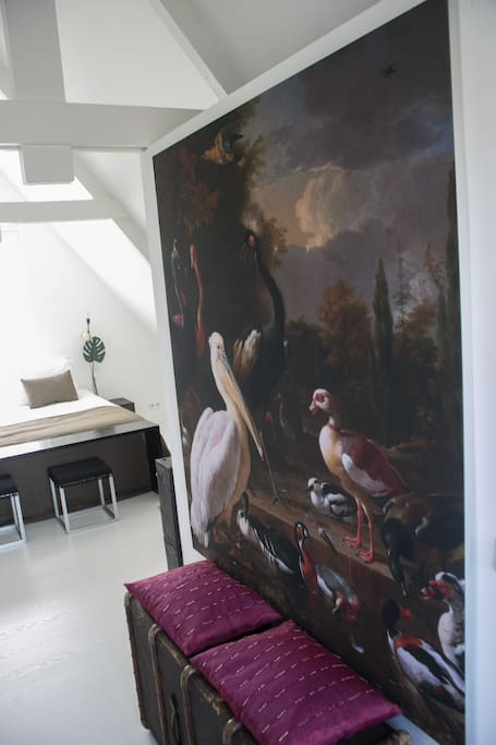 The suite with a view on the old master print on fabric