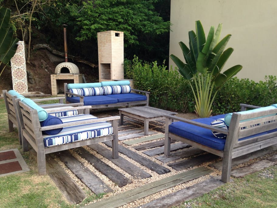 Comfortable seats in the garden outside area