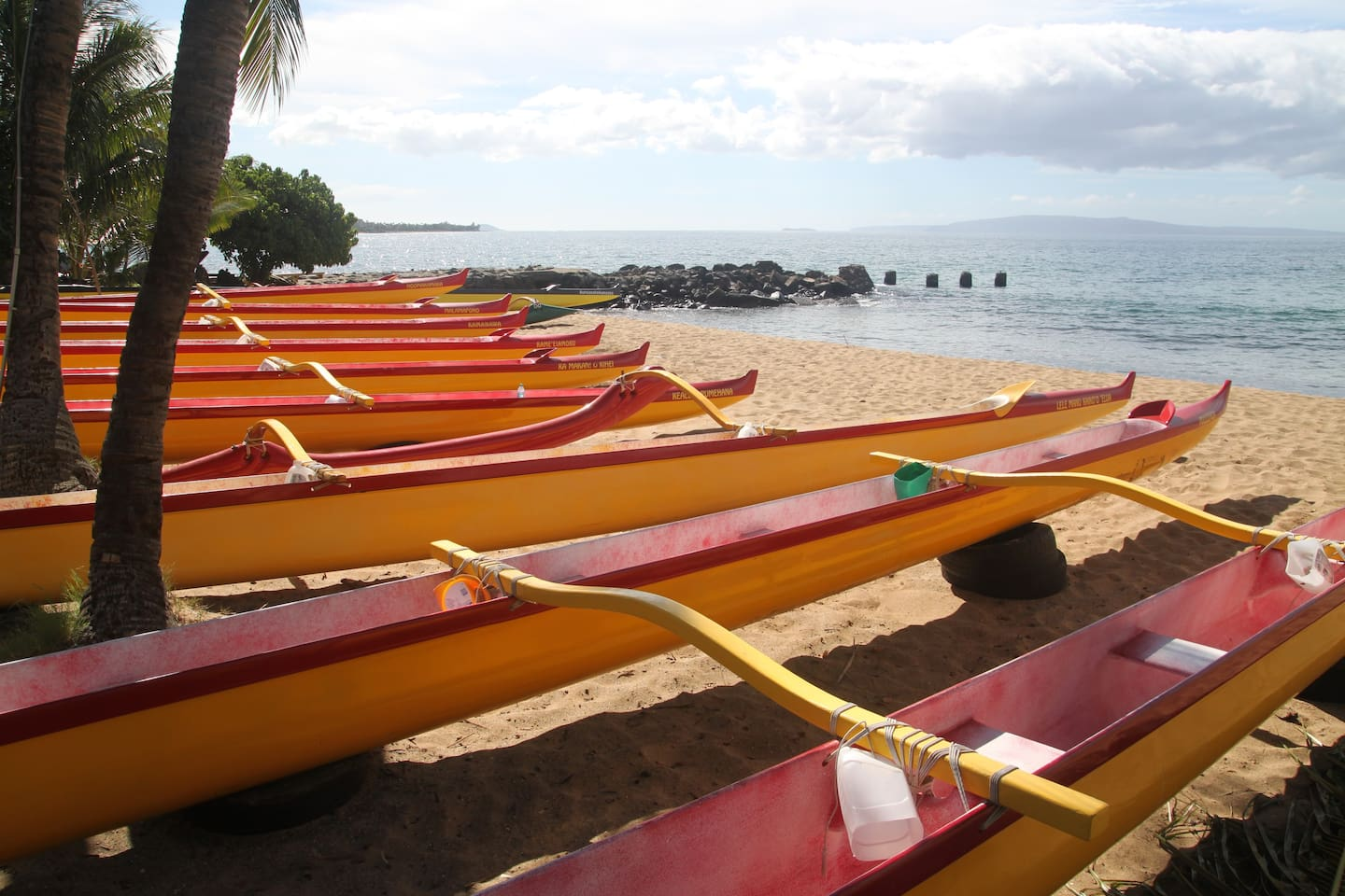 your morning walk can take you to see the famous red and yellow canoes maybe on the water....