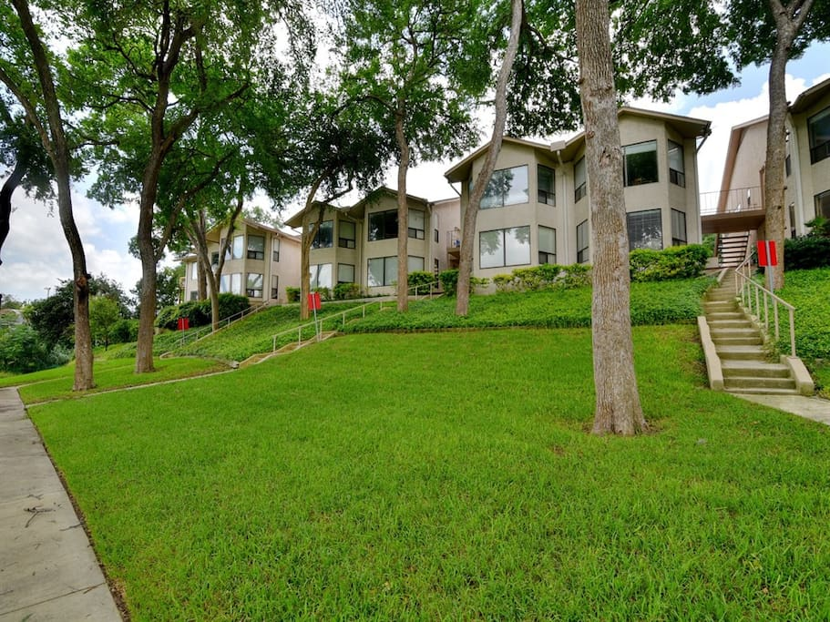 Comal River Condos has easy access to the riverside with stairs leading down to the river bank from your front door!