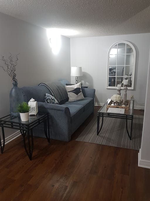 Comfortable, cozy living room with pull-out couch.