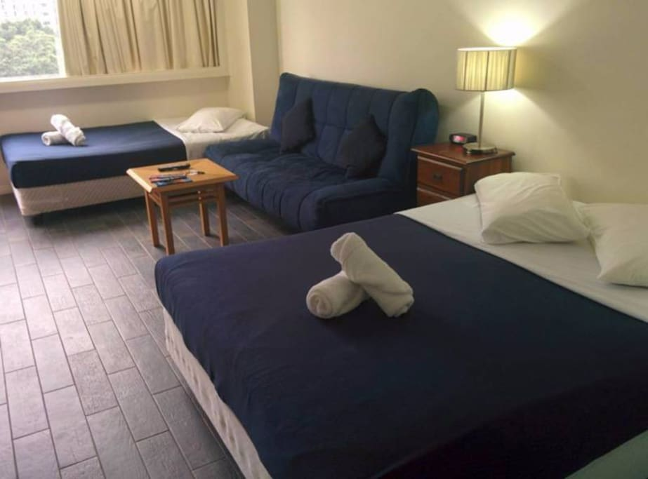 Apartment contains 1 queen bed, 1 single bed and 1 double sofa bed