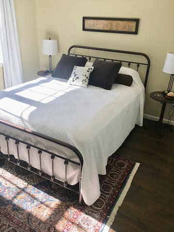 Bedroom #3 features a queen-size, comfortable bed, luxury modal sateen sheets, natural cotton bedding, large closet with luggage cart, and fluffy, soft spa robes. Nice views.