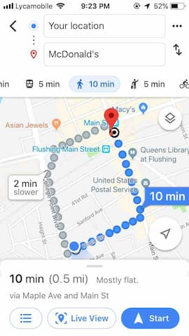 Walking distance to Mcdonald's, Burger King, Pop Eyes, and pretty much all of the Asian cuisine of Flushing that you could imagine.