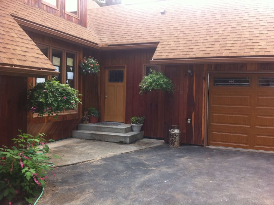 Summer view of the front entry.