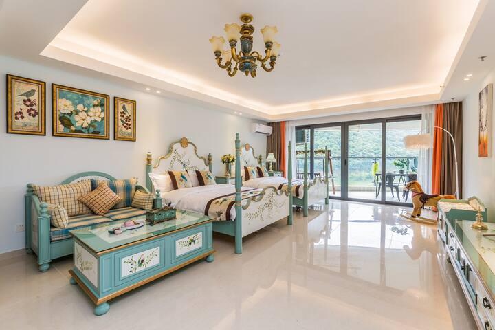 敏捷黄金海岸海景房  美式田园双床房100米到海滩   乳胶床垫 沐澜