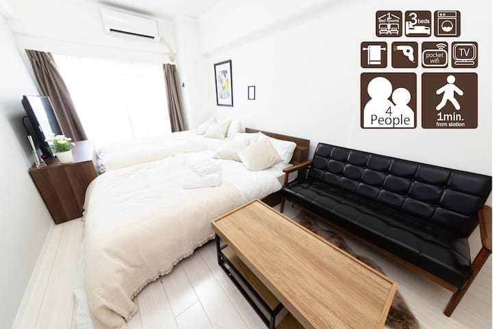 Near Osaka station, Namba! 6 people stay! 307