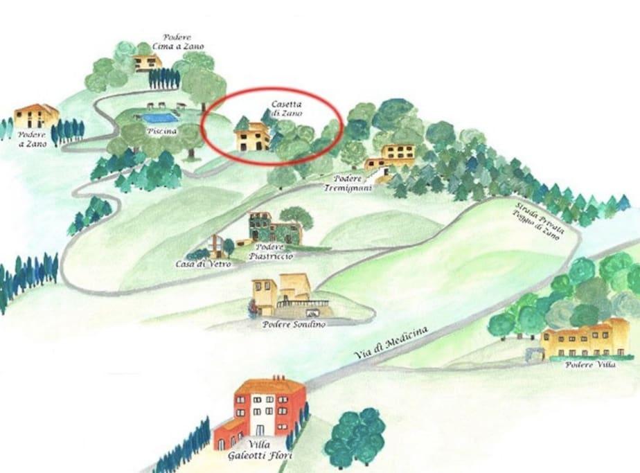 La piantina della tenuta