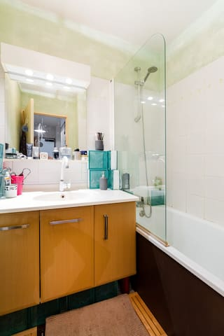 lighted bathroom