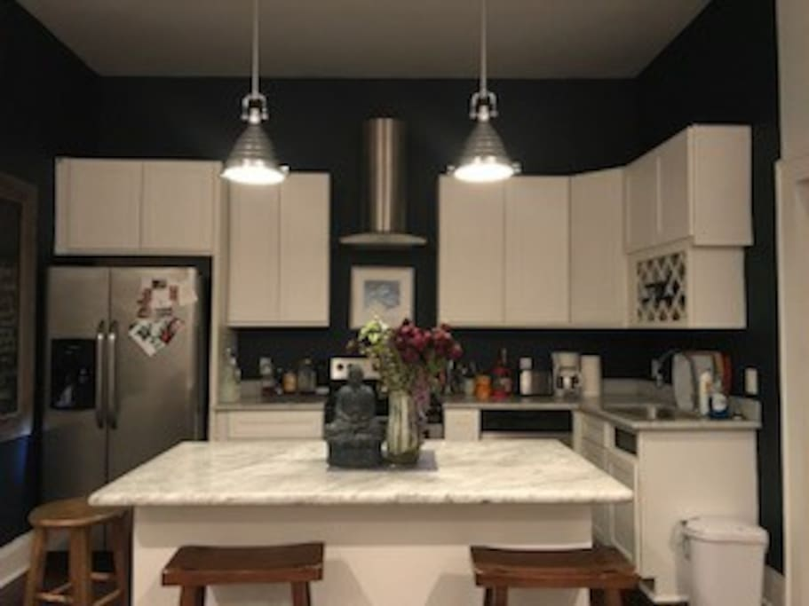 Open kitchen marble counters