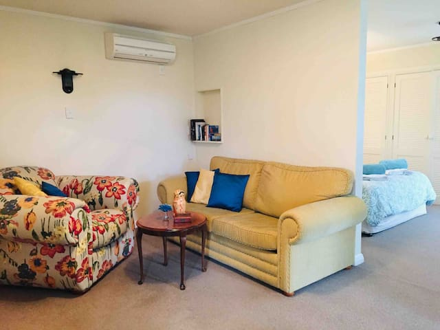 The heat pump/air conditioner maintains a constant temperature throughout the apartment. The lounge also has a TV, Chromecast, books and games.