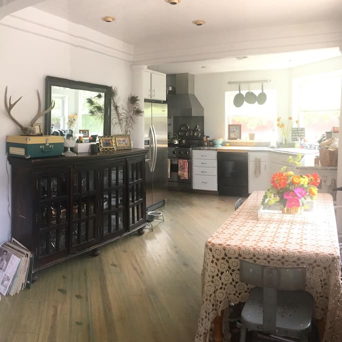 Dining room and kitchen with Viking stove. Record player with many classics to listen to as you enjoy a night in.