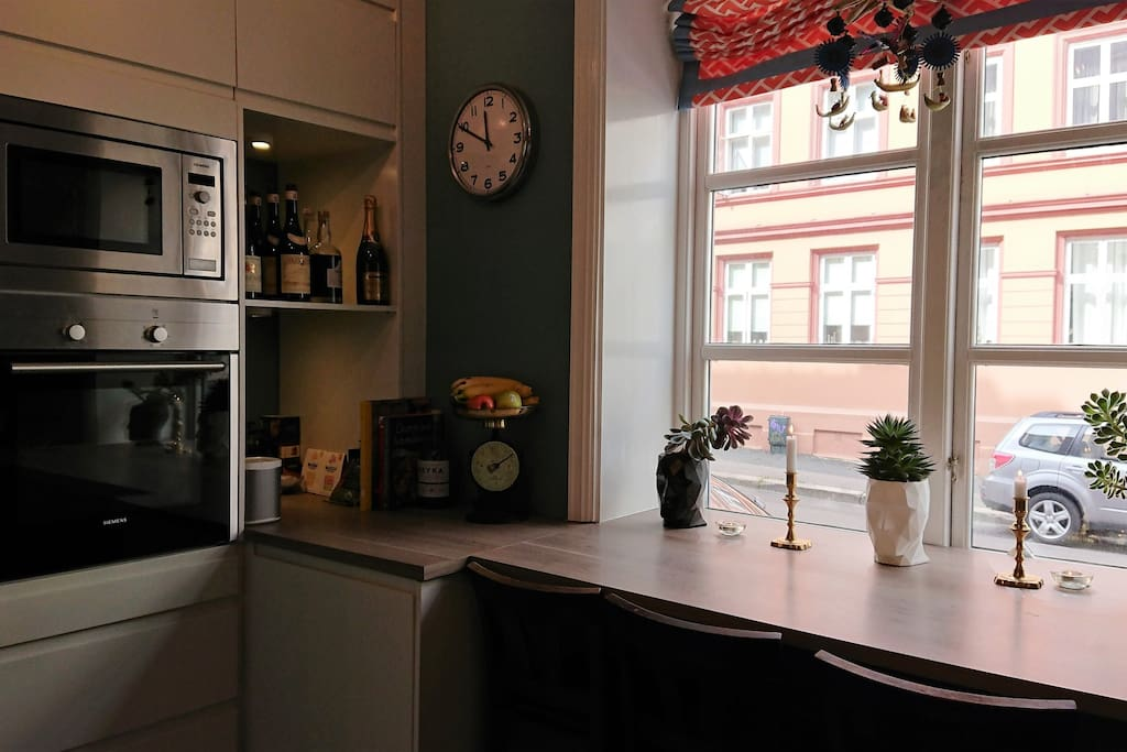 Cozy kitchen-corner with oven, microwave and all modern appliances