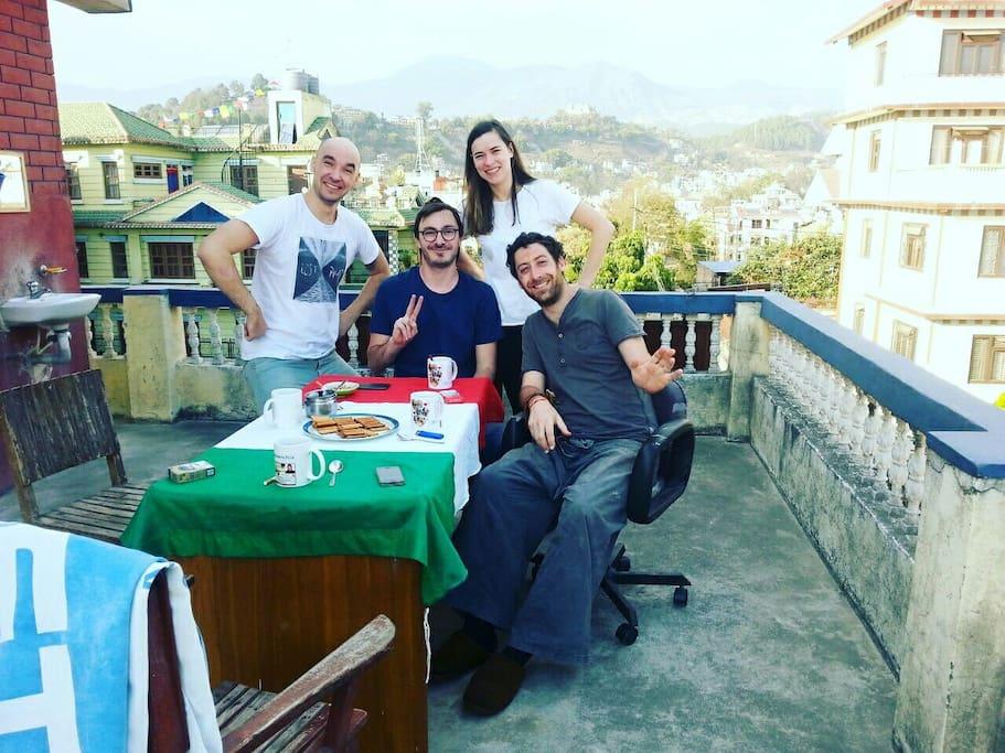 Guests at Terrace having Tea Break