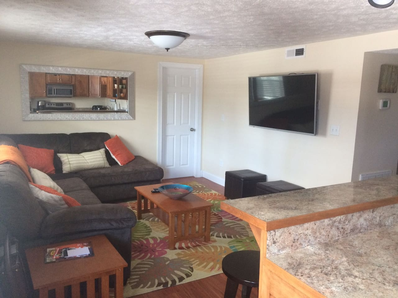 Family room and Queen Pullout Couch