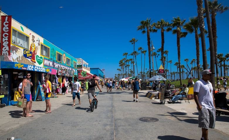 Venice boardwalk, a few steps from the flat!