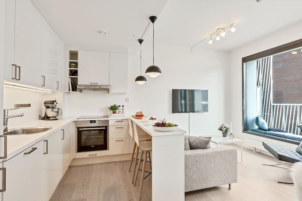 The apartment is located in the middle of Oslo and holds high quality