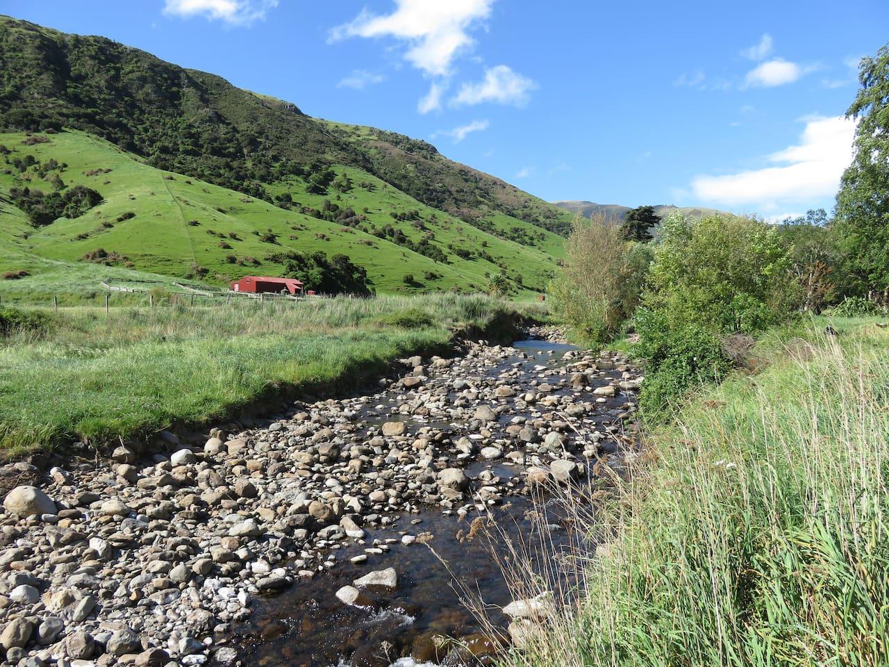 Enjoy stunning views. Very private with stream boundary