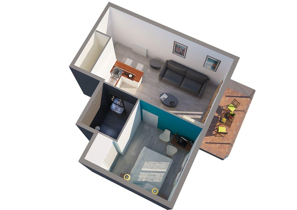 Vue 3d appartement