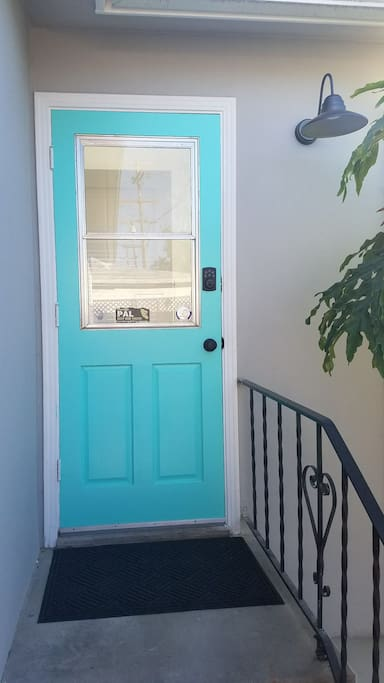 Back door with keypad for entry