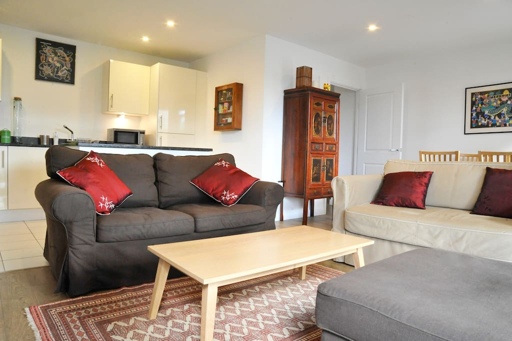 The comfy sofas and table