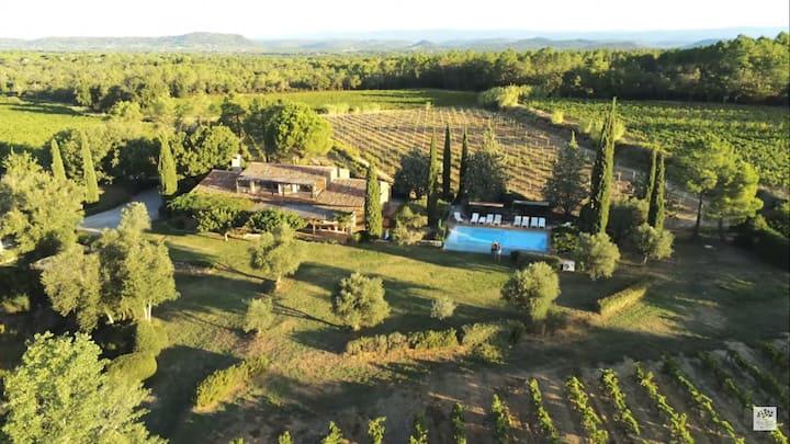 Secluded Provençal farmhouse on a vineyard