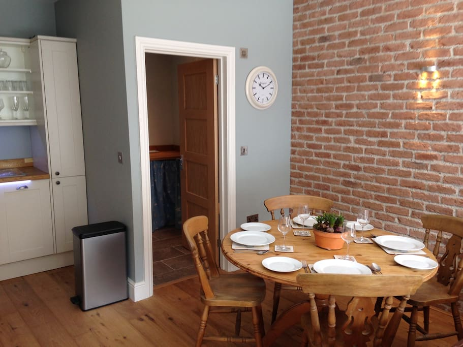 Dining area with access to washer dryer