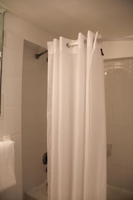 Shower curtains, towels, shampoo and body wash available for all guests on a daily basis.