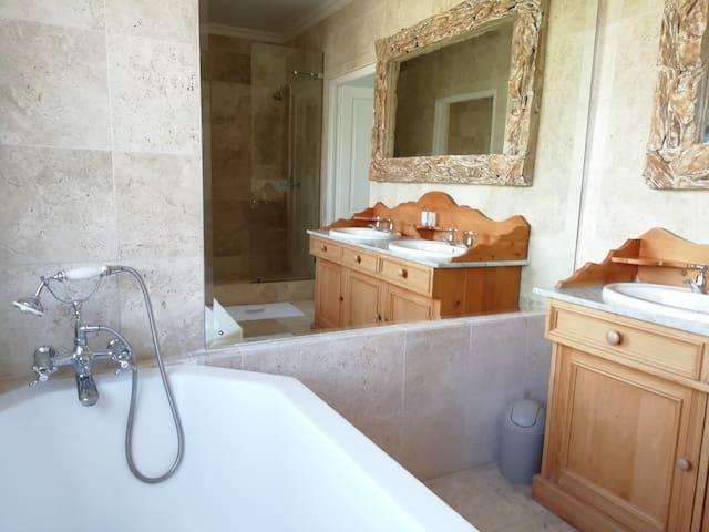 Luxury Bathroom with bathtub and shower .