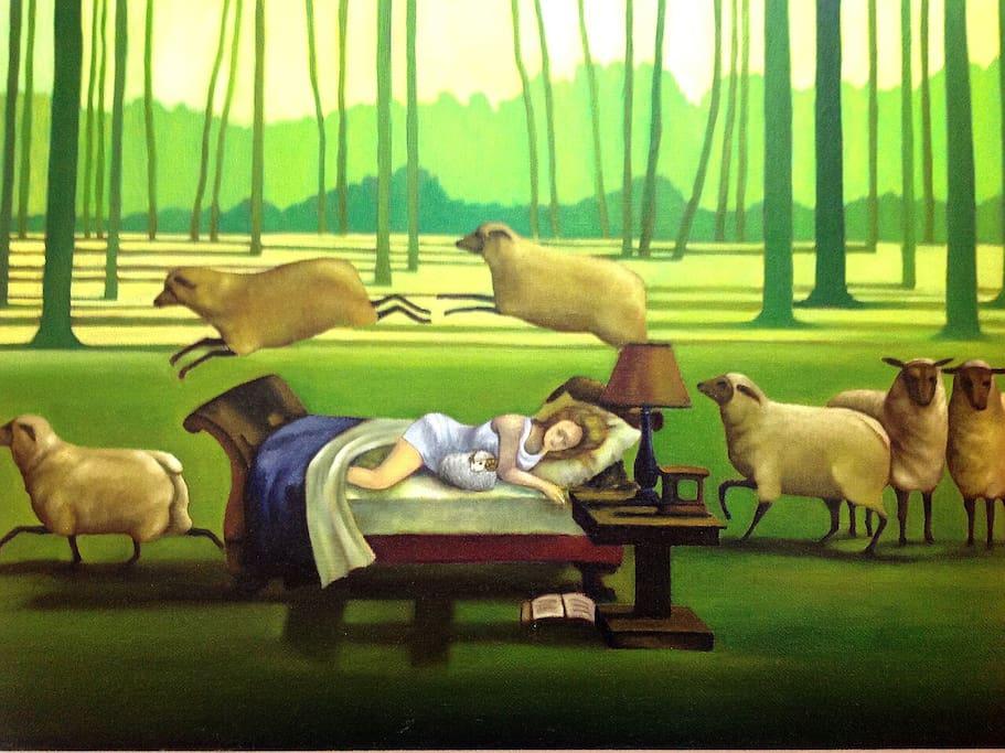 包棟.獨享大大的空間(只接待您們一組客人) - 主臥房內的羊咩咩專屬油畫