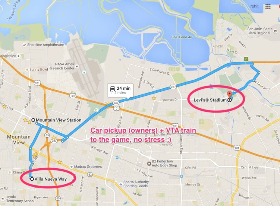 Mtn. View is the 'official' TRANSIT HUB to SB50. Easy, no stress w/ owners willing to pick/drop you to train station!