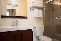 Very large bathroom with large step in shower with rainhead.