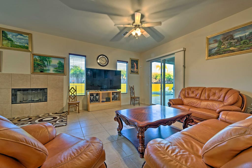 Relax while watching shows on the flat-screen cable TV.