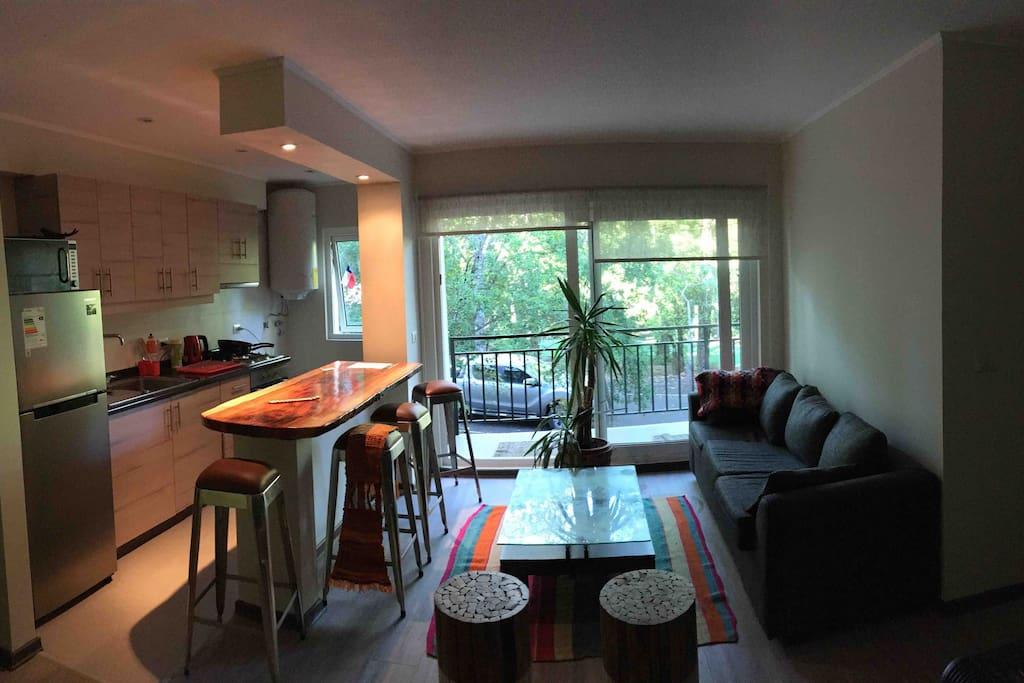 Cocina americana, horno eléctrico, encienda, termo, refrigerador, microondas. Living amplio, terraza